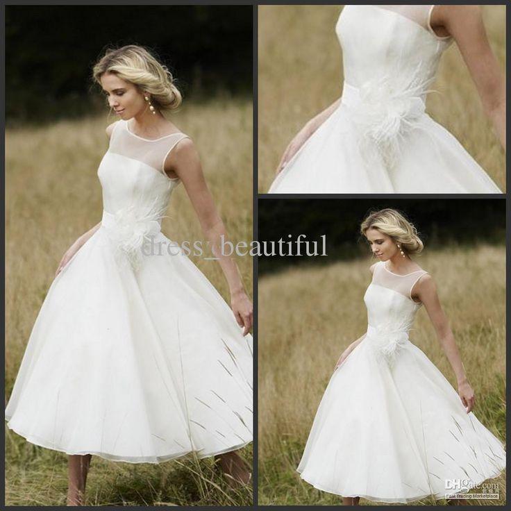 Discount LM Vintage Iris White Tea Length Short Sleeve Wedding Dresses Sleeveless A Line Bridal Dress Long Gown Online Wi