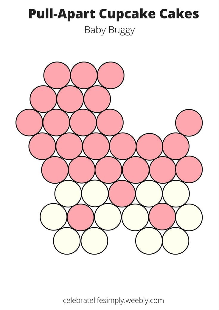 Pink Baby Buggy Shower Pull-Apart Cupcake Cake Templates
