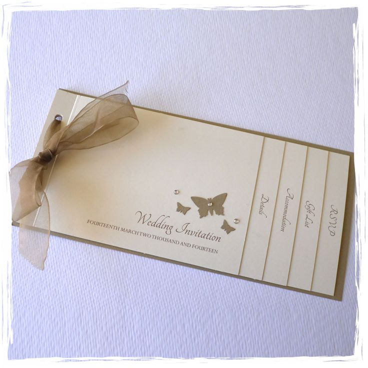 handmade wedding cards ireland%0A Butterfly Cheque Book Style Wedding Invitation in Gold and Cream
