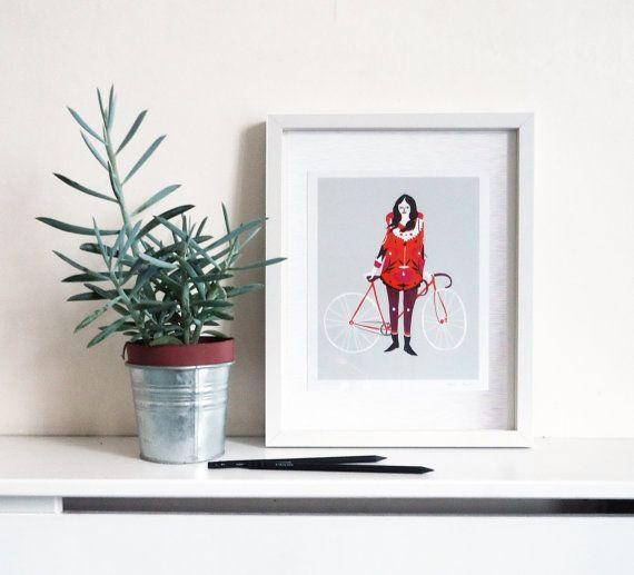 Fahrrad Mädchen drucken von KarolinSchnoor auf Etsy