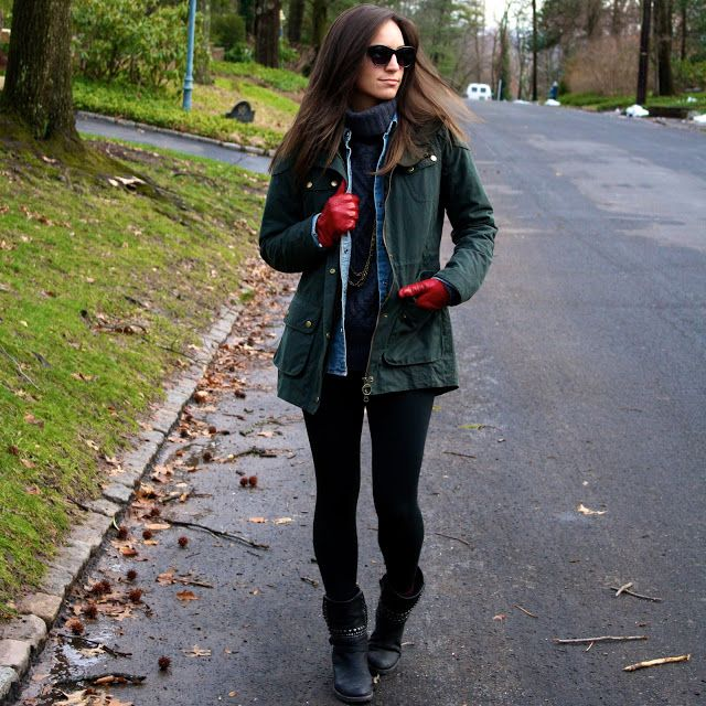 #redleather gloves #layers and a #barbour jacket