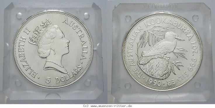RITTER Australien, 5 Dollars 1990, Kookaburra - 1 Unze, Originalkapsel, PP #coins