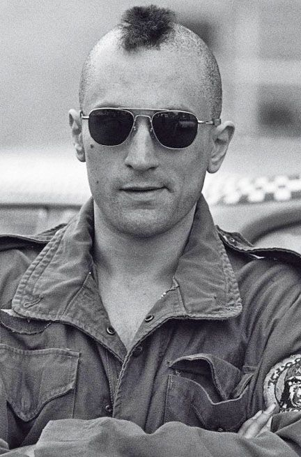 Robert De Niro as Travis Bickle in 'Taxi Driver, 1976 - his method acting was unnerving in this film!