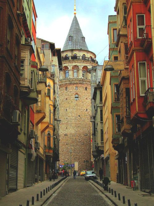 The Galata Tower (Galata Kulesi in Turkish) — called Christea Turris (the Tower of Christ in Latin) by the Genoese — is a medieval stone tower in the Galata district of Istanbul, Turkey, just to the north of the Golden Horn. One of the city's most striking landmarks, it is a high, cone-capped cylinder that dominates the skyline and affords a panoramic vista of Old Istanbul and its environs.