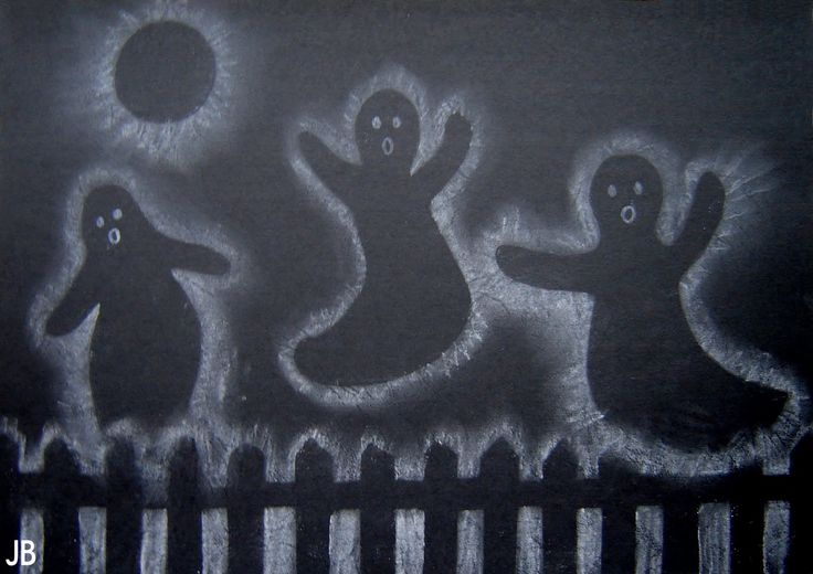 'Ghosts in the air' - black construction paper, white  outline.   - Take picture link to tutorial.