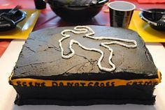 I will definitely make a cake like this for our murder mystery party.