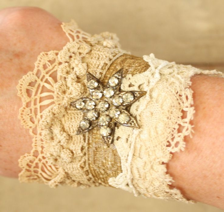 Layered Antique Lace Cuff Recycled Romantic Boho Gypsy () by ElegantFarmhouse