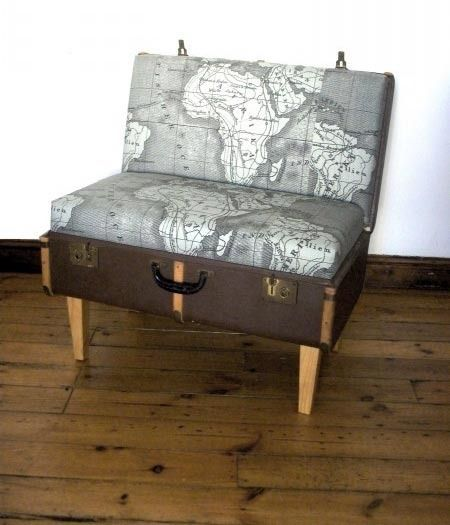 Map Print chair (inside a trunk no less!)