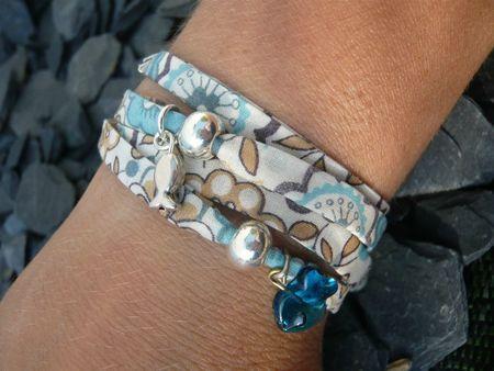 bracelet tissu perles argent 4 tours home made (3)