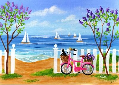 Beach Cat Bicycle Flowers