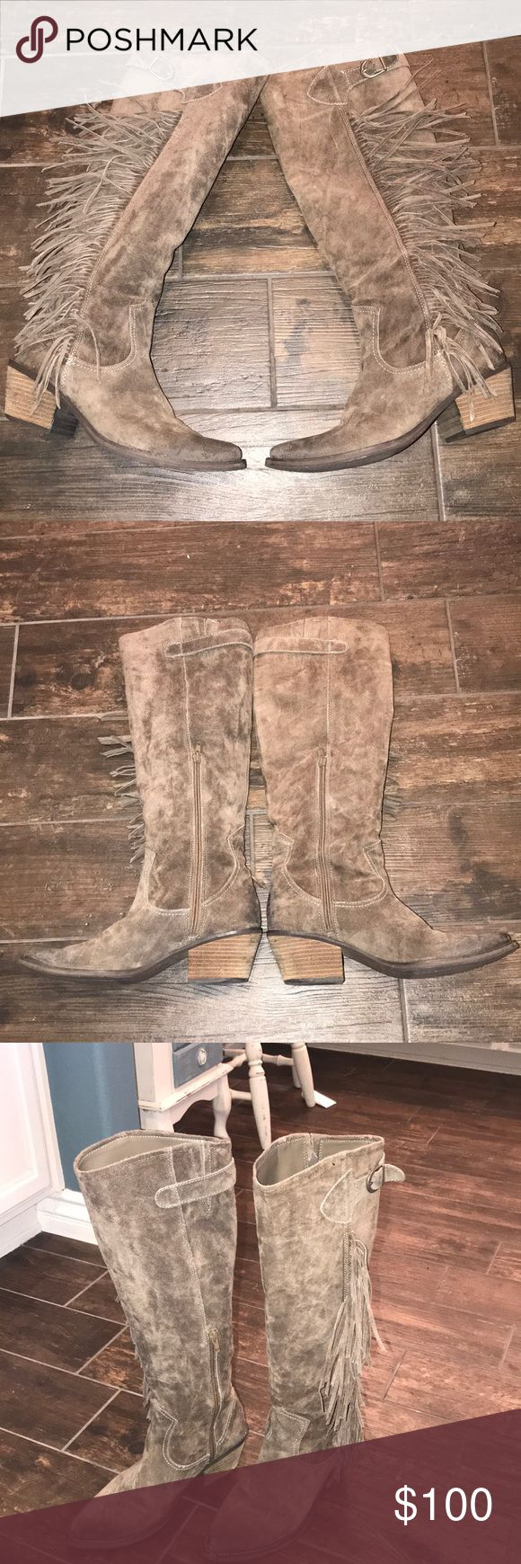 """Carlos Santana Boots Stylish Carlos Santana Boots in EXCELLENT CONDITION! They have a natural worn look and look great with skirts or jeans. There is no tag inside, so I'm not positive of material. The outer seems to be genuine suede. Inside is a soft man made material. 19"""" from bottom of heel to top. Size 8.5. 2.5"""" heel. Carlos Santana Shoes Heeled Boots"""