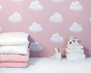 tapet, Cotton Clouds Sandalwood Pink