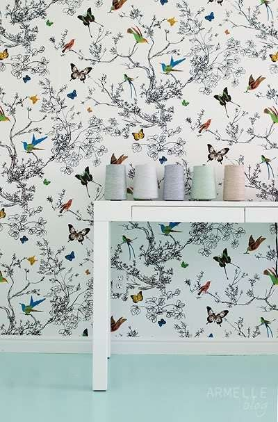 Lynn Chalk - Schumacher Birds and Butterflies Wallpaper Multi on White 2704420, $153.99 (http://store.lynnchalk.com/schumacher-birds-and-butterflies-wallpaper-multi-on-white-2704420/)