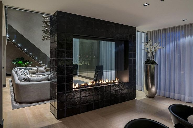 Double Sided Fireplace Home Design Photos