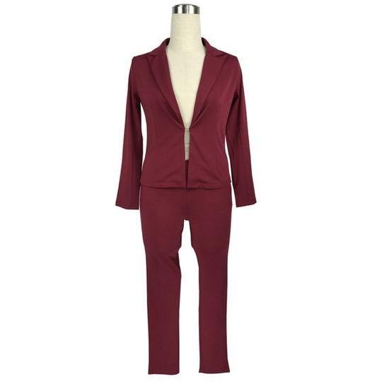 2018 sexy v-neck jacket+long legging pant suit 2 Two piece Pant Set long sleeve spring blue white black bodycon slim elegant set 1