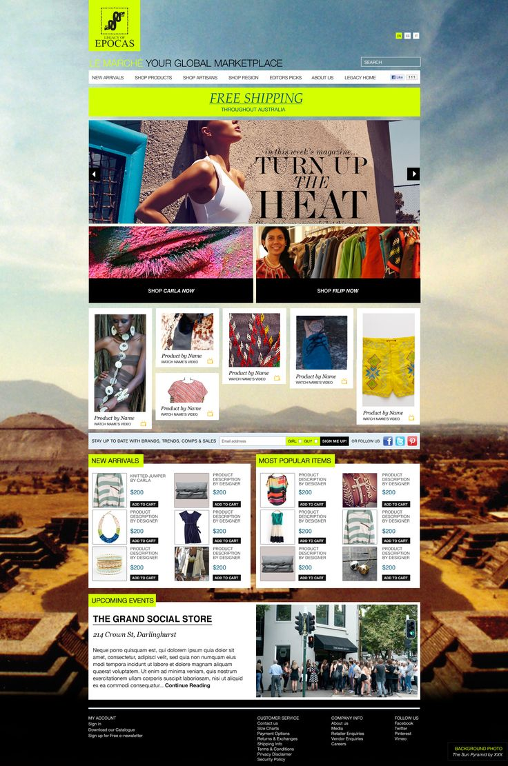Legacy of Epocas - Ecommerce web design concept