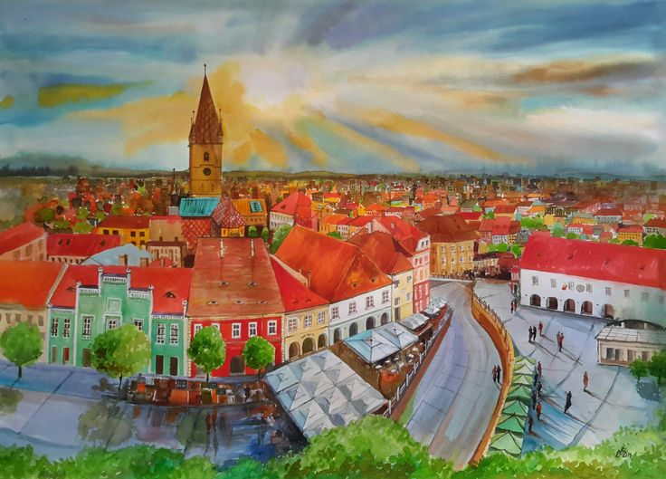 """Sibiu 1""-Watercolor by Gabriela Calinoiu."