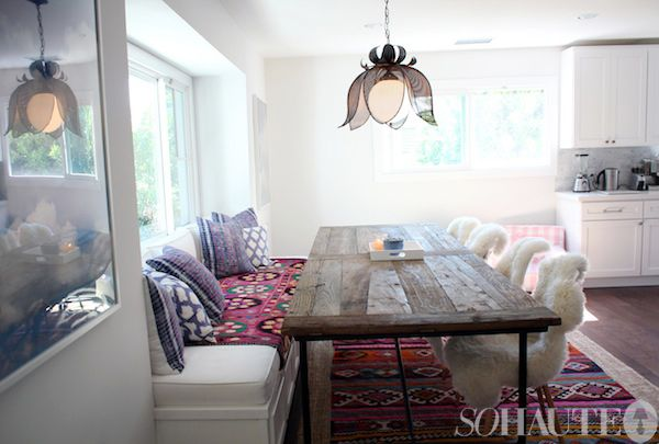 I LOVE this idea but would have to 'play' wit it a bit as we have full length windows... hmmm... :)Amber Interiors, Chairs, Sheepskin Blankets, Kitchens Tables, Boho Cute Diy Decor, Amber Lewis Interiors, Benches Tables, Modern Boho, Kitchens Boho Modern