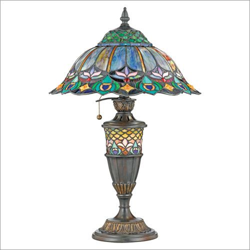 Quoizel Peacock Nouveau Tiffany Table Lamp Stained Glass