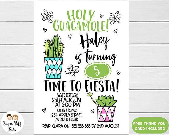 Girls Fiesta Birthday InvitationCactus Birthday Invitation