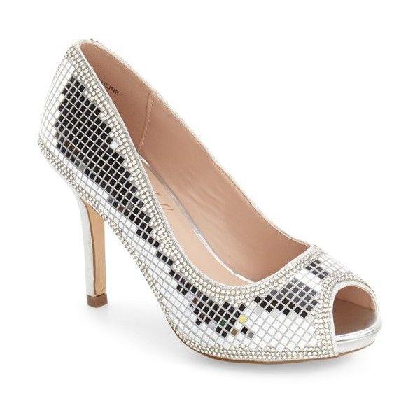 Women's Lauren Lorraine Pauline Peep Toe Pump ($109) ❤ liked on Polyvore featuring shoes, pumps, silver, retro pumps, metallic peep toe pumps, silver pumps, polish shoes and silver metallic shoes