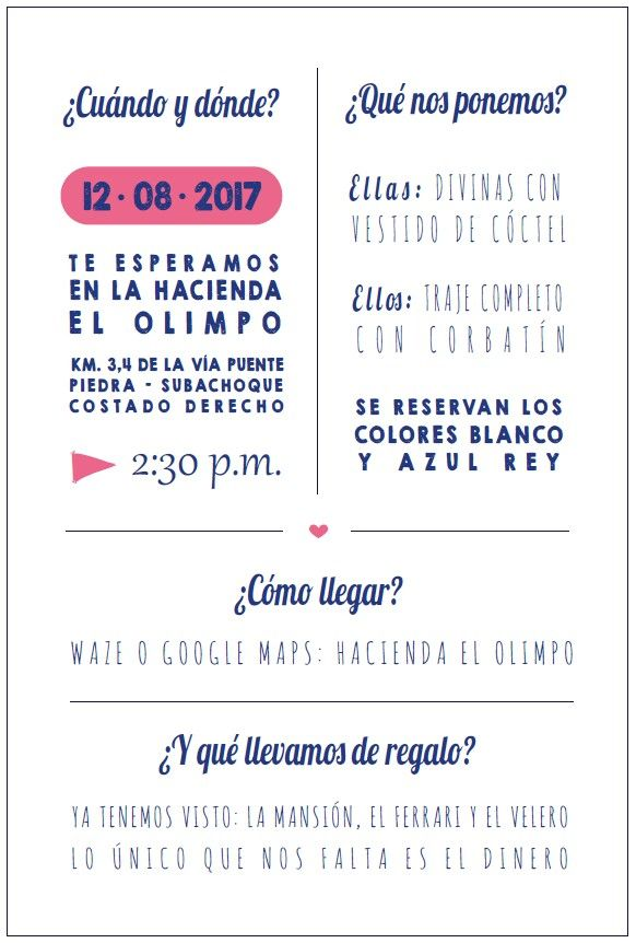 Tarjeta adicional invitaciones Laura y Andrés