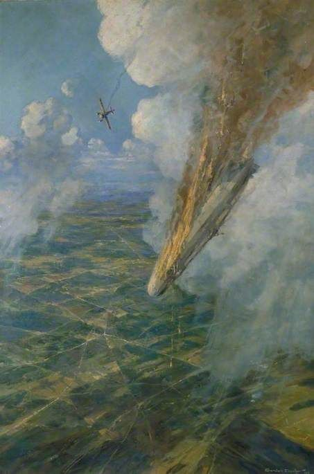 Lieutenant Warneford's Great Exploit: The First Zeppelin to Be Brought down by Allied Aircraft, 7 June 1915by Frederick Gordon Crosby IWM (Imperial War Museums)Date painted: 1919