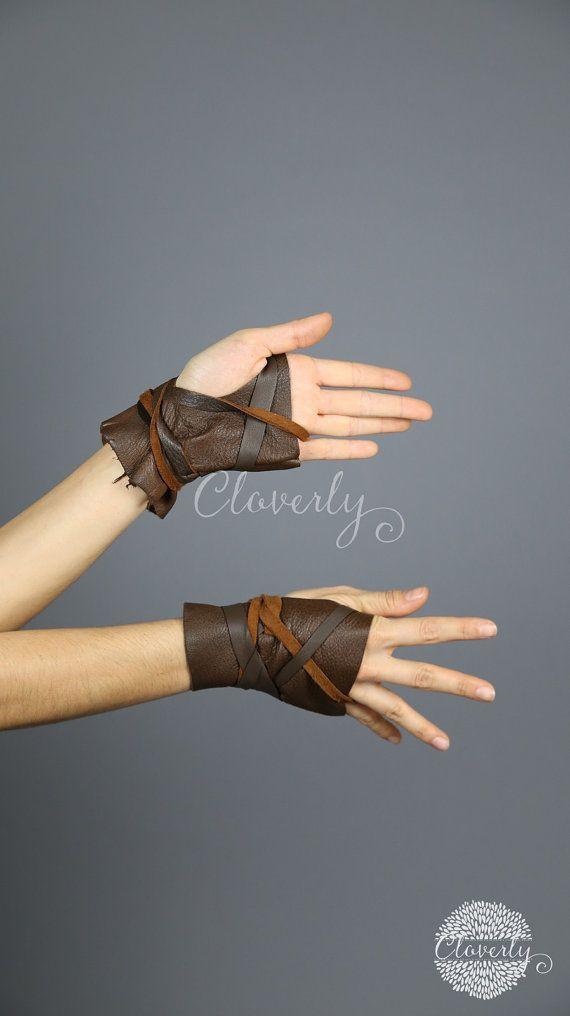 Ready to Ship Dark Brown Fingerless Leather Gloves Short /