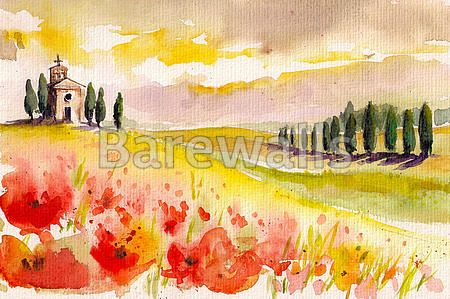 """""""Tuscany"""" - Illustrated nature posters and prints available at Barewalls.com"""