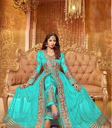 Buy sky-blue embroidered net semi-stitched salwar with dupatta anarkali-salwar-kameez online