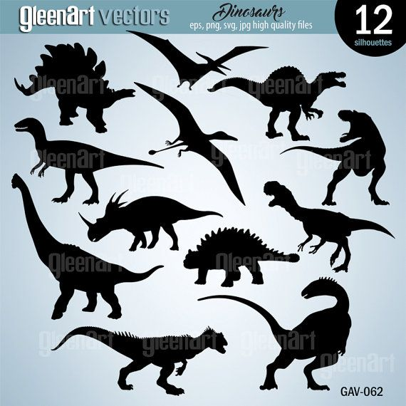50% Off Sale  12 Dinosaurs Silhouettes Clip Arts by GleenArt