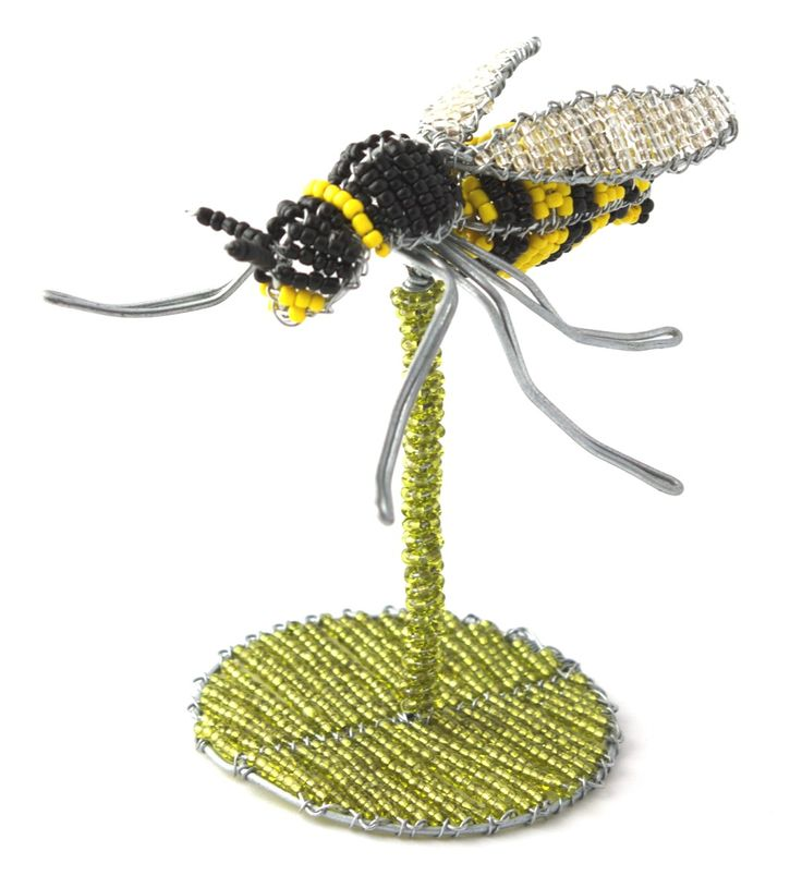 Wire beaded Bee on a beaded stand.