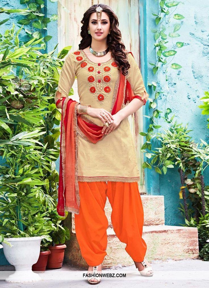 Captivating  Beige and Orange Beads Work Patiala Salwar Kameez