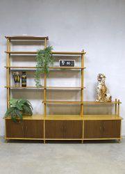 Vintage stokkenkast Dutch design cabinet roomdivider W. Lutjens Den Boer Gouda