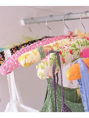 Padded coat-hangers covered with colourful fabric