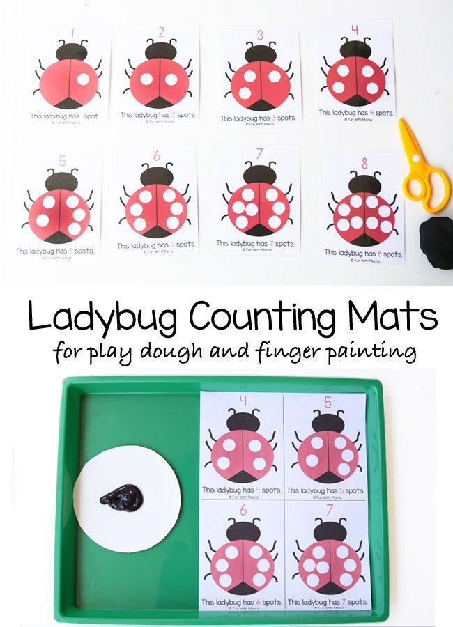 These ladybug preschool counting mats are perfect to work on a childs early preschool math skills, one on one correspondence, fine motor skills and visual perception. This educational activity is great for toddlers and preschoolers who love playing with playdoh and can be used to fingerpaint too. You could also use other paint materials like do a dot markers. I love open ended printable activities. via @funwithmama