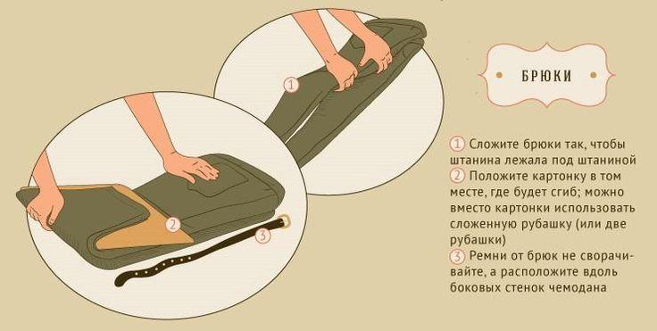 Как складывать брюки в чемодан