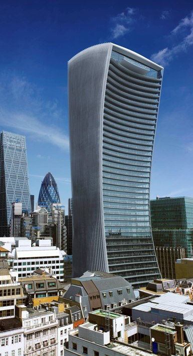 Walkie Talkie Tower, 20 Fenchurch Street, UK by by Rafael Vinoly Architects. 2009-2014. Astrogeographical position: the last degrees of the earth sign Virgo and in the first decade of the water sign Scorpio for radius/field level 3.