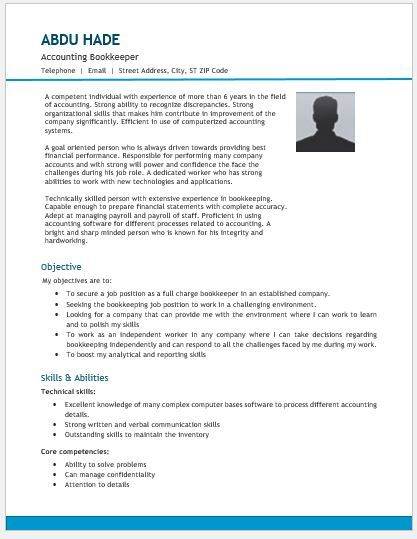 Accounting Bookkeeper Resume Template DOWNLOAD at http://writeresume2.org/accounting-bookkeeping-resume/