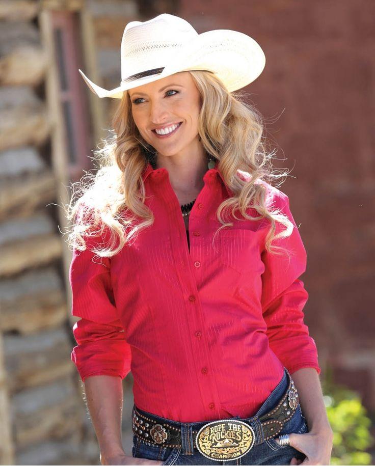 Cruel® Ladies' Long Sleeve Fuchsia Button Shirt