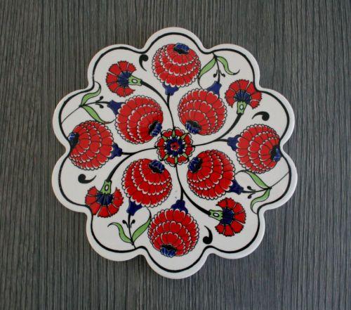 DECORATIVE TURKISH CINI OTTOMAN CERAMIC DAISY TRIVET HOT PLATE 18cm XMAS GIFT