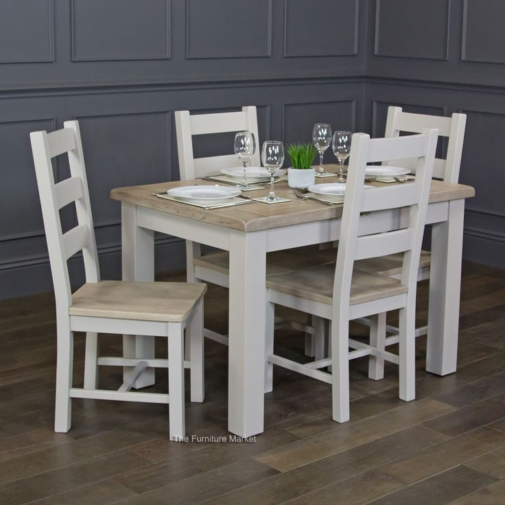 Grey Stone Painted Small Extending Dining Table and 4 ...