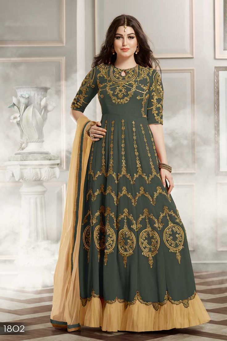 Green Designer Eid Special Function Wear Anarkali Dress WIth Heavy Embroidary Work 1802