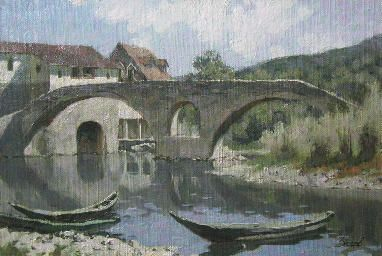 """River of Crnojevic"", Montenegro. Landscape oil painting on canvas on hardboard by Daniil Belov, 2008"