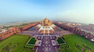 Preview wallpaper india, akshardham temple, beautiful, top view, panorama 1920x1080