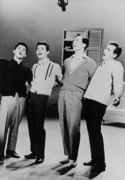 A rare photo of: Paul Anka, Frankie Avalon, Pat Boone and Bobby Darin in early 50's.
