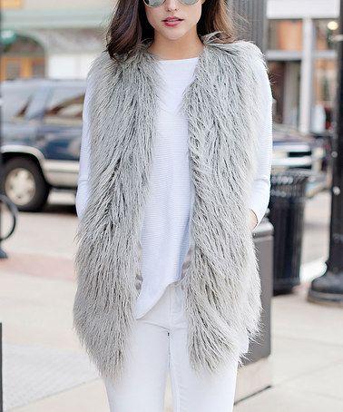 Look at this #zulilyfind! Gray Faux Tibetan Lamb Fur Vest - Plus Too #zulilyfinds
