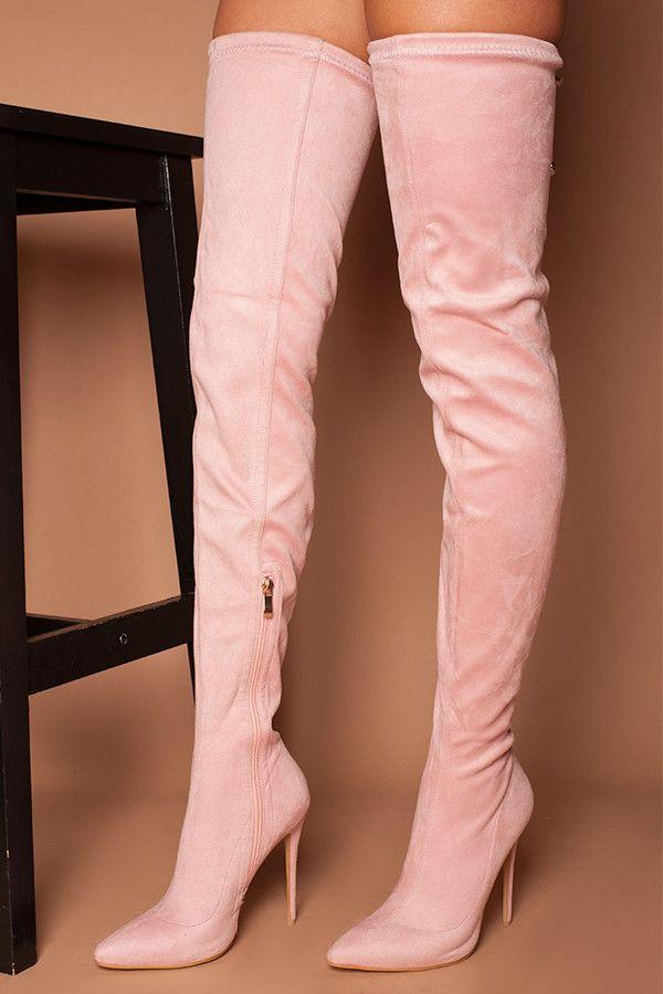 Pink knee high boots, Boots, Thigh high