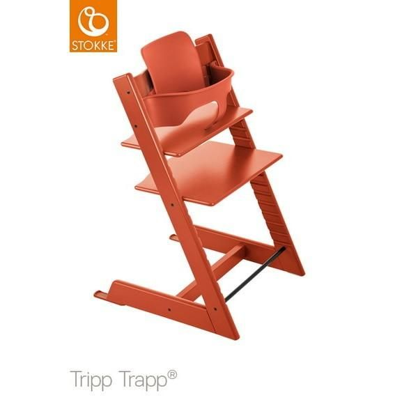 Stokke Tripp Trapp chair lava orange + babyset lava orange . Shop it by Bruun!