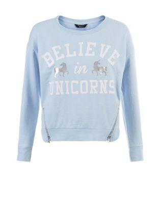 Teens Blue Believe In Unicorns Print Zip Hem Sweater  | New Look